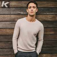 Autumn Men Sweater 100% Cotton Solid Beige Black Color Pullovers For Man Casual Slim Clothes 2018 Male Wear Knitwear Tops 17039