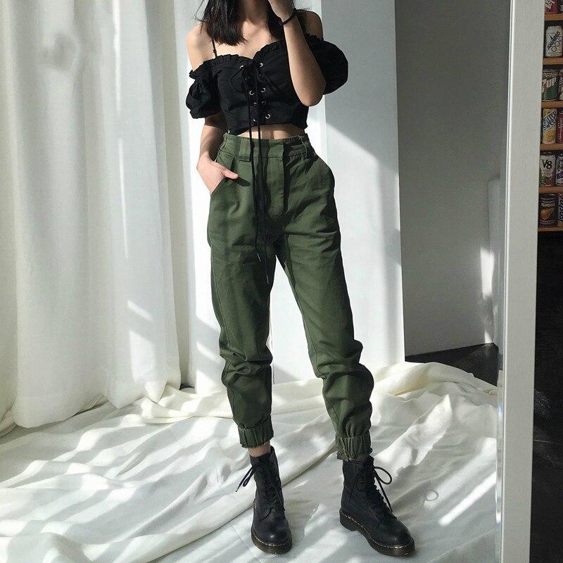 High Waist   Pants   Camouflage Loose Joggers Women   Pants   Streetwear Punk Black Cargo   Pants   Women   Capris   Trousers 8446