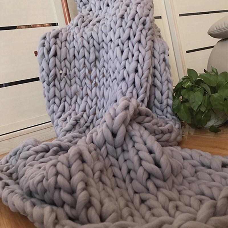 2019 New Chunky Knitted Blanket Warm Soft Throw Bedspread Sofa Cover Blanket Yarn Bulky Knitting Blanket Home Decor Good Gift