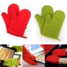 Cotton Oven Glove One Pair Heatproof Mitten Kitchen Cooking Microwave Mitt Thickening for Insulated Non-slip