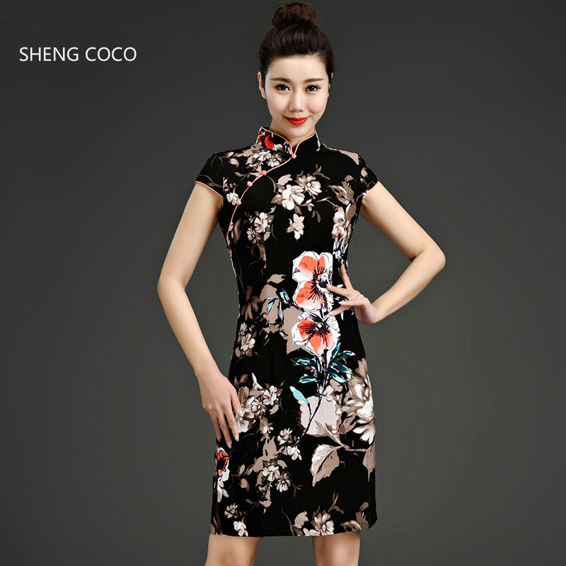 SHENG COCO Plus Size 5XL Flax Cotton Qipao Stretch Dresses Oriental Style Elastic Hemp Cheongsam Black Flower Print Fashion