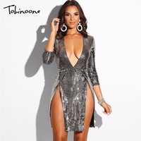 Tobinoone 2018 Sexy V Neck Long Sleeve Short Dresses Side Split Party Night Club Mini Sequin Dress Women Bodycon Clubwear