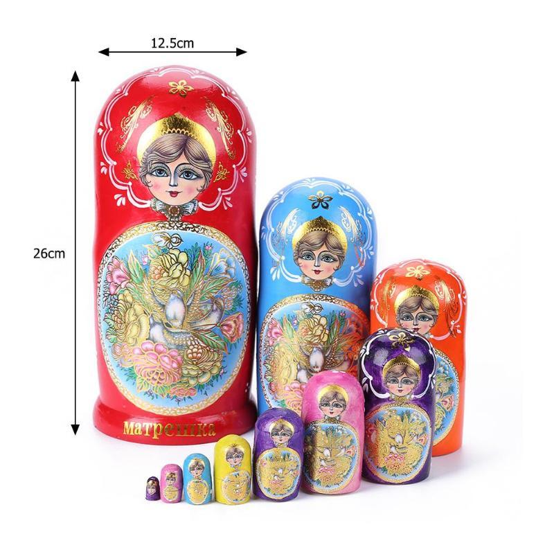 10 couches bébé jouet nidification poupées en bois russe Matryoshka décor nidification coloré poupées en bois russe poupées pour cadeaux d'anniversaire - 6