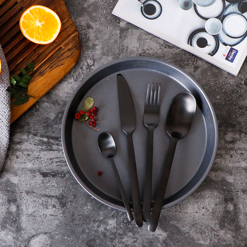Image 5 - 4Pcs/Lot New Arrival Multicolor Cutlery Set Matte Stainless Steel Dinnerware Set Black Rose Gold Knife Fork Scoop Tableware Set-in Dinnerware Sets from Home & Garden