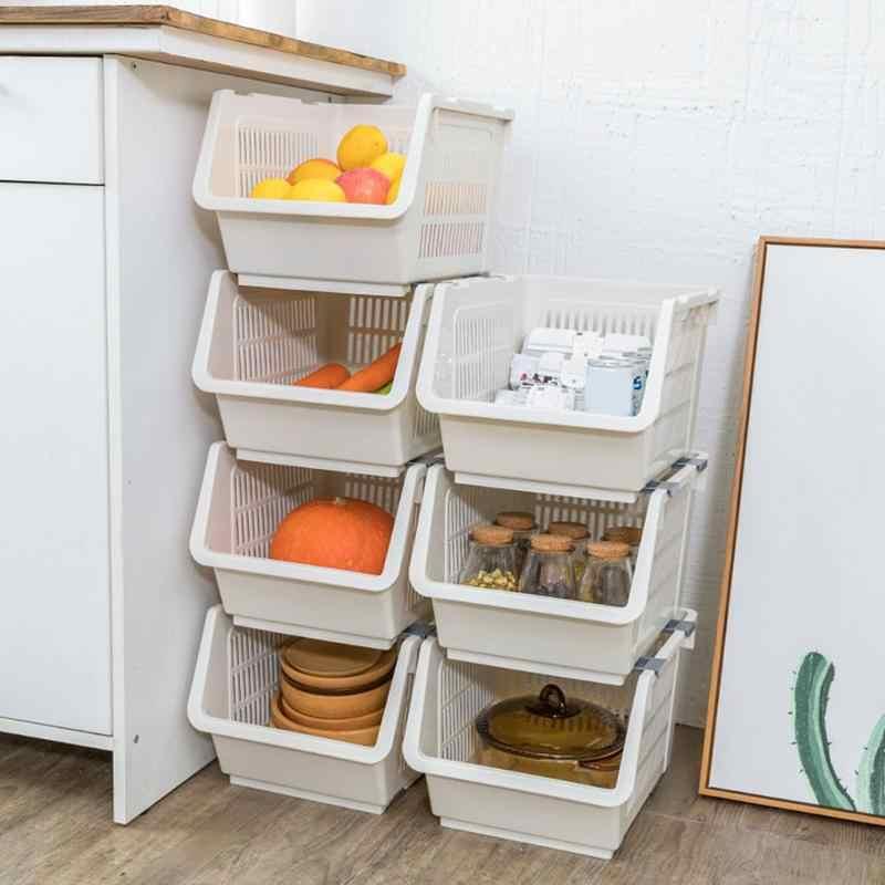 New Kitchen Stackable Storage Bins Fruit Vegetable Plastic Basket Bathroom Organizer Pantry Toy