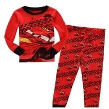 Купить с кэшбэком New Style Cotton Children's Clothing Boy Girls Baby Cartoon a Red Car Pajama Set Pajamas K254