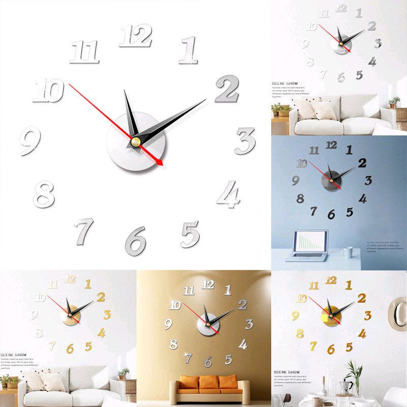 Image 3 - DIY 3D Roman Numbers Watch Wall Clock Home Decor Mirror Wall Sticker 4 Colors Acrylic Mirror Wall Sticker Wall Clock-in Wall Stickers from Home & Garden