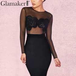 Glamaker, кружевной сетчатый черный комбинезон с круглым вырезом, женский комбинезон с длинными рукавами, сексуальный базовый комбинезон с