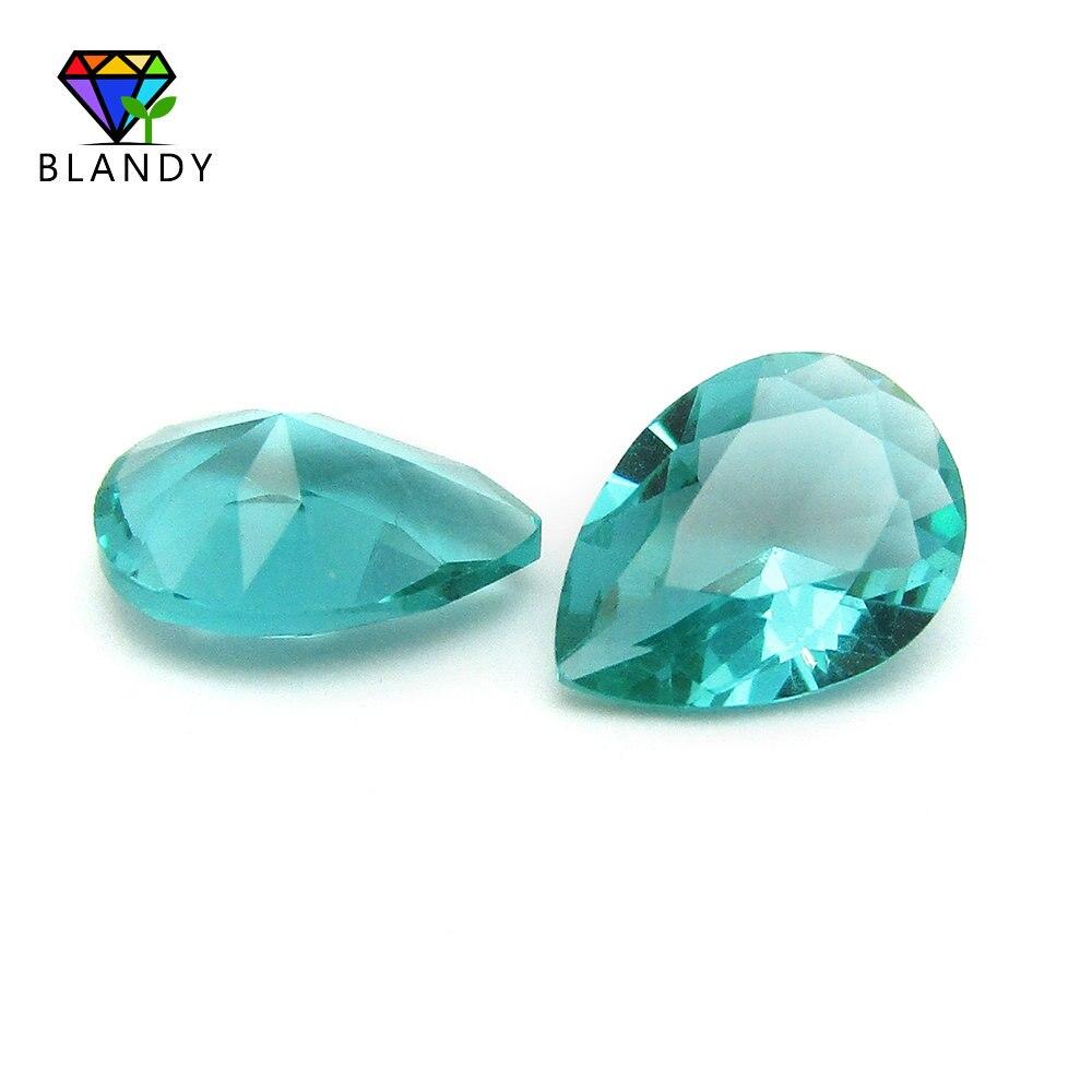 Pear Shape 8*12mm Light Green Glass Stone Synthetic Beads For JewelryPear Shape 8*12mm Light Green Glass Stone Synthetic Beads For Jewelry