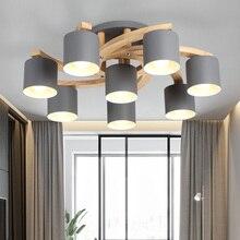 Modern Wood E27 Ceiling Lamp Art Iron Light Lighting Bedroom Living Room LED Kitchen Dining Bar Luminaire Fixtures Avize