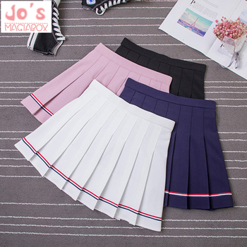 3edb9e37d 2019 japonés Kawaii Mini Falda Mujer Primavera Verano sólido estilo Preppy  A-Line Empire ...