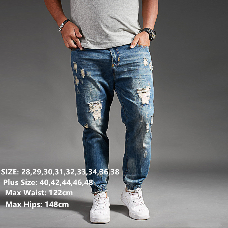 Freely Mens Plus Size Ripped-Holes Washed Elastic Bottom Jeans Pants