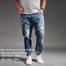 Rippedกางเกงยีนส์ผู้ชายสีดำDenim Mens Jean Homme Harem Hip Hop Plusขนาดกางเกง 44 46 48 Mens uomoแฟชั่นJoggerกางเกง