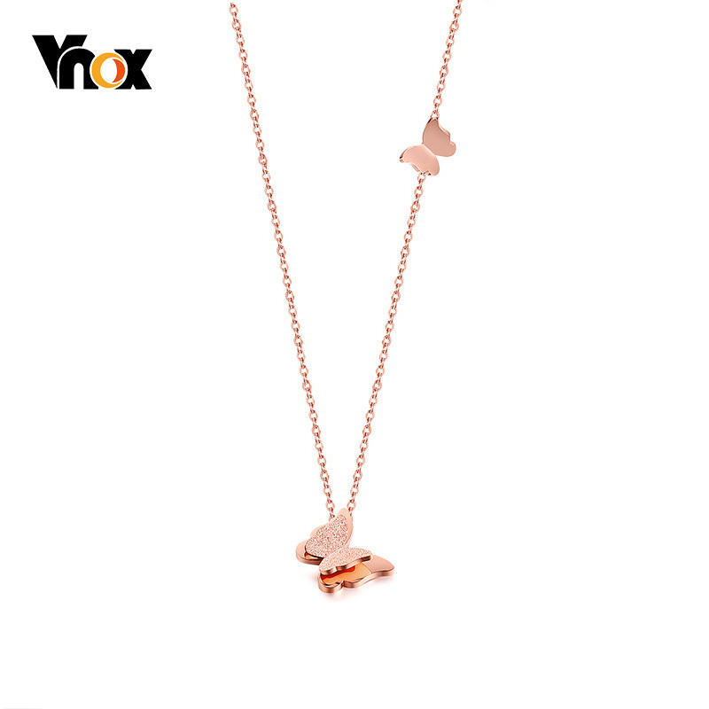 Vnox Trendy Pink Gold Tone Choker Necklace Stainless Steel Butterfly Pendant Femme Collar Birthday Gifts necklace