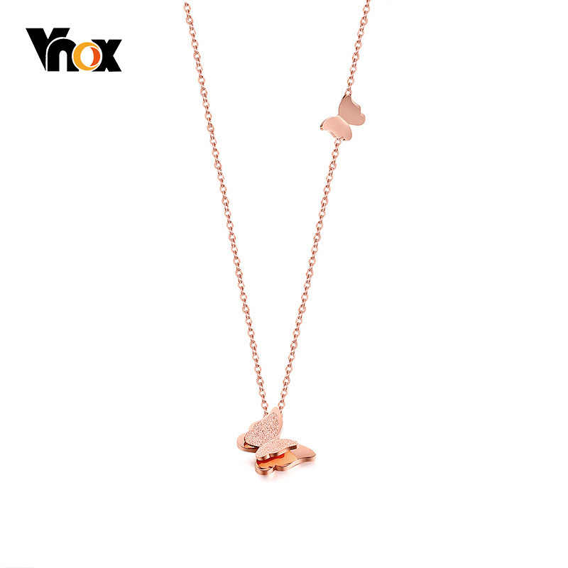 Vnox Trendy Pink Gold Tone Choker Necklace Stainless Steel Butterfly Pendant Femme Collar Birthday Gifts
