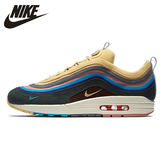 Nike official Air Max 1/97 SW Sean Wotherspoon Summer Man Outdoor Running Shoes Comfortable non-slip Sneakers# AJ4219-400