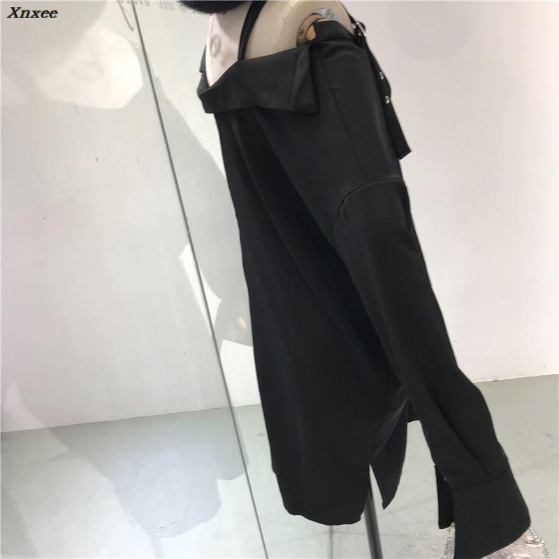 Femmes De Blouse V À Sexy 2018 cou Longues Mince Mode Tops Long Casual Manches Noir Printemps Été Lâche Chemise Femelle Style Sangle wvUf6Ha