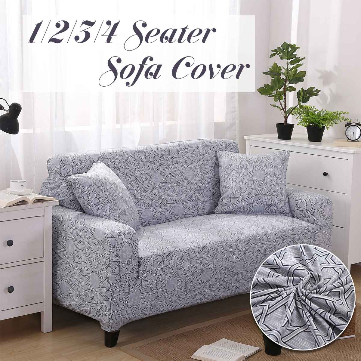 Puzzle Star Grey 1 2 3 4 Seater Home Soft Elastic Sofa