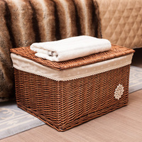 Wicker Woven Storage Basket Hamper with Lid Sundries Case Home Collection Gift