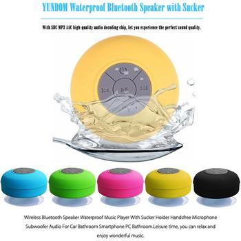 Mini Wireless Bluetooth Speaker Bathroom  Portable Waterproof  Fashionable Stereo Bass Musical Instruments With Suction Cup