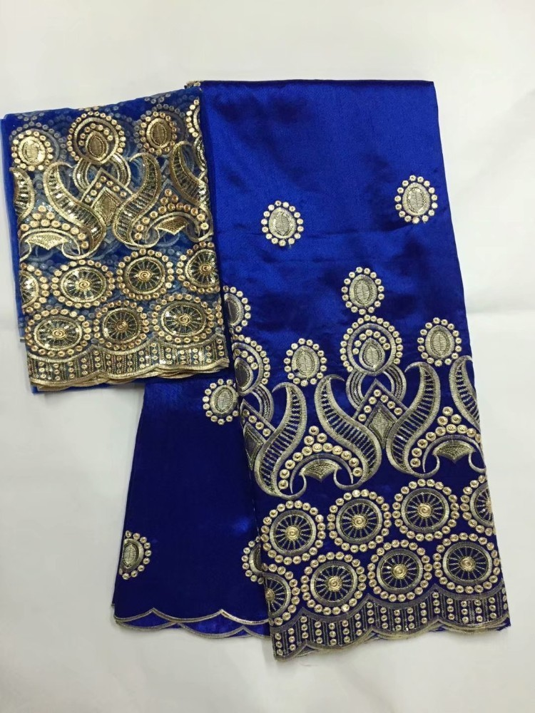 Image 3 - African George Fabric High Quality Indian Raw Silk George  Wrappers Hot Nigerian Lace Fabrics Set with Blouse for Wedding  5 2yardLace