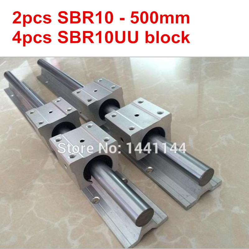 SBR10 linear guide rail: 2pcs SBR10 - 500mm linear guide + 4pcs SBR10UU block for cnc partsSBR10 linear guide rail: 2pcs SBR10 - 500mm linear guide + 4pcs SBR10UU block for cnc parts
