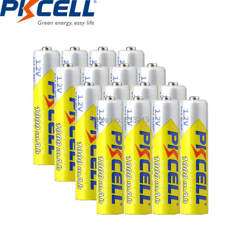 32 قطعة PKCELL NIMH AAA بطارية 1.2 فولت 1000 مللي أمبير بطاريات AAA بطارية قابلة للشحن تصل إلى 1000 دائرة مرات للضوء مصباح يدوي ريموت