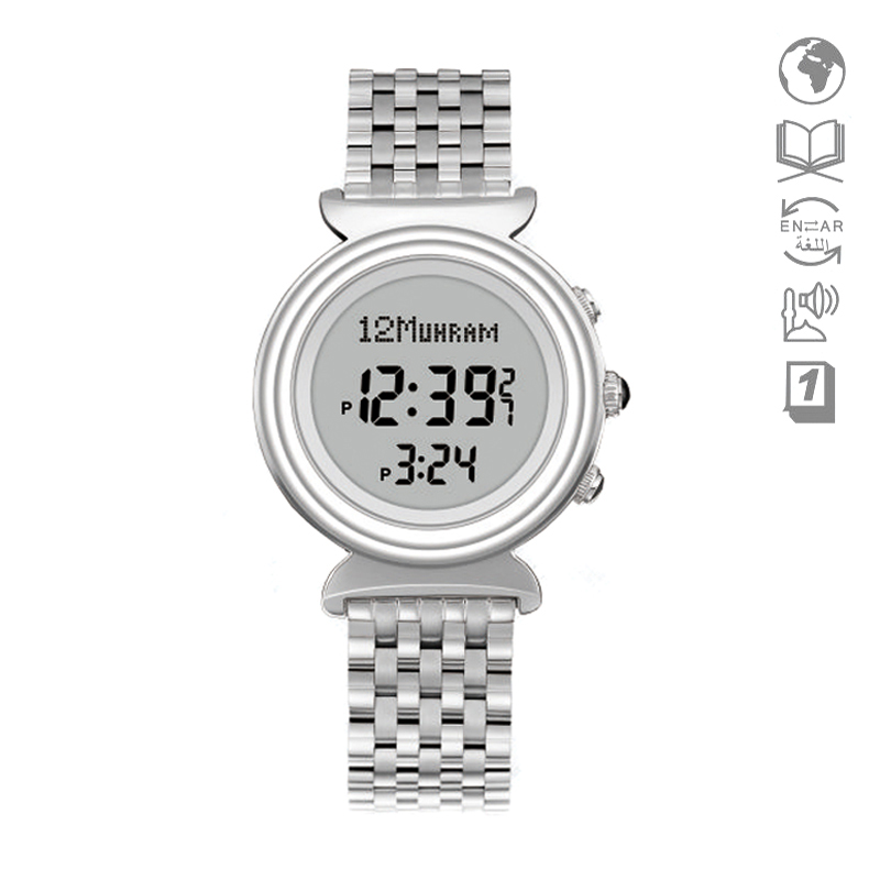 Women's Watches Frugal Ialam Woman Watch With Qibla Hijri Wf14s 27mm Stainless Steel Muslim Clock With World Prayer Alarm Azan Wristwatch Leather Box Numerous In Variety
