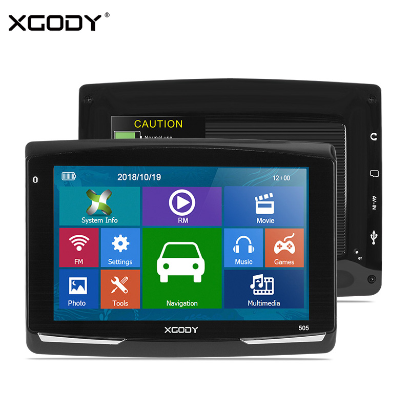 XGODY Car GPS Navigation Sat Nav Bluetooth 5inch Europe 8GB AVIN Map FM 505 Automobile