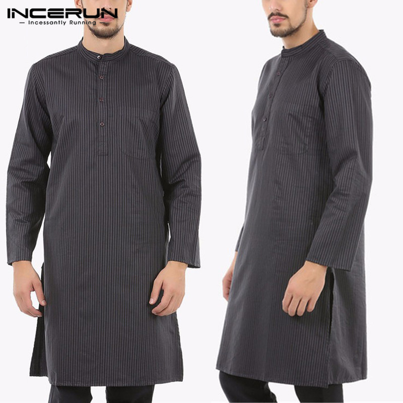Indian  Suit Striped Thobe Jubba Indian Dress Robe Long Sleeve Muslim Saudi Arab Thobe Man Kaftan Arabe Islamic Thobe Tops