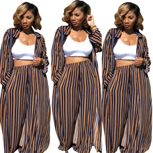 SexeMara Striped Long Sleeve 2 Piece Set Women Top Turn-down CollarWide Leg Pants