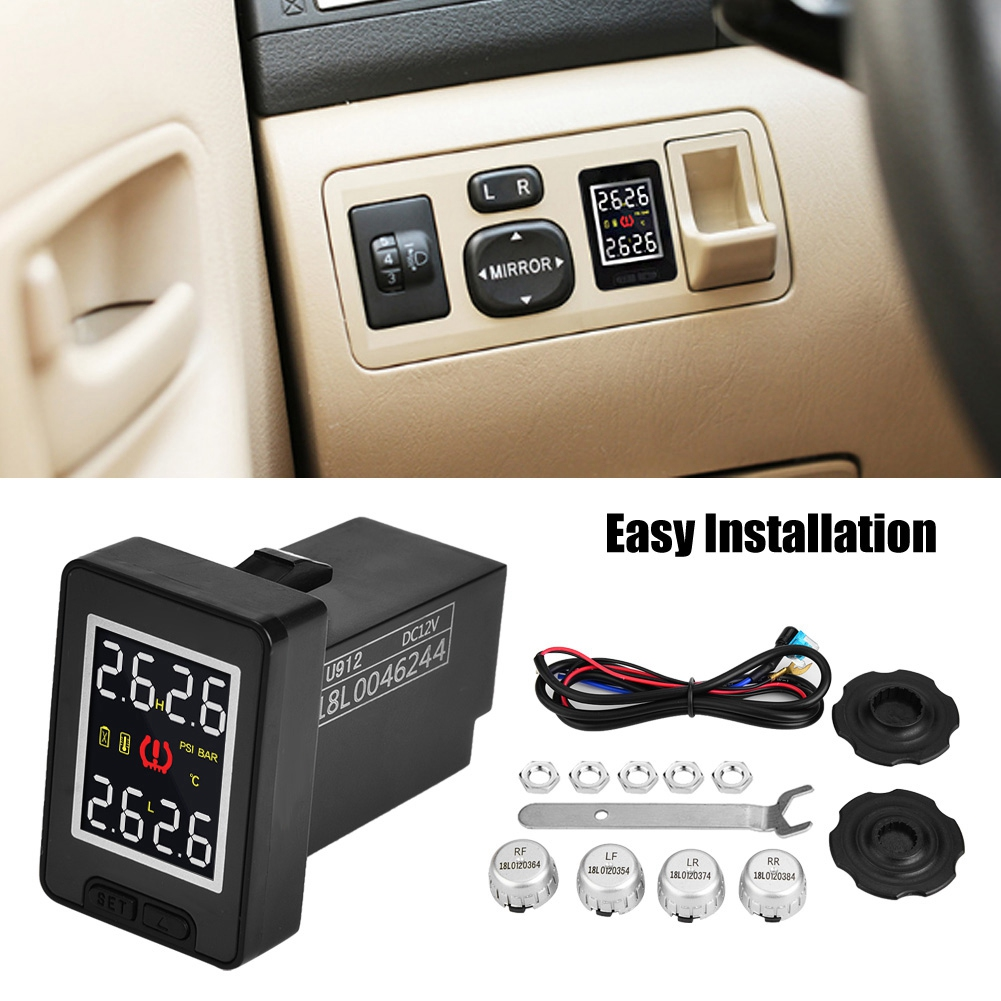 Car ABS Tire Pressure Monitor System TPMS with 4 External Sensors Universal for Toyota Mazda Honda
