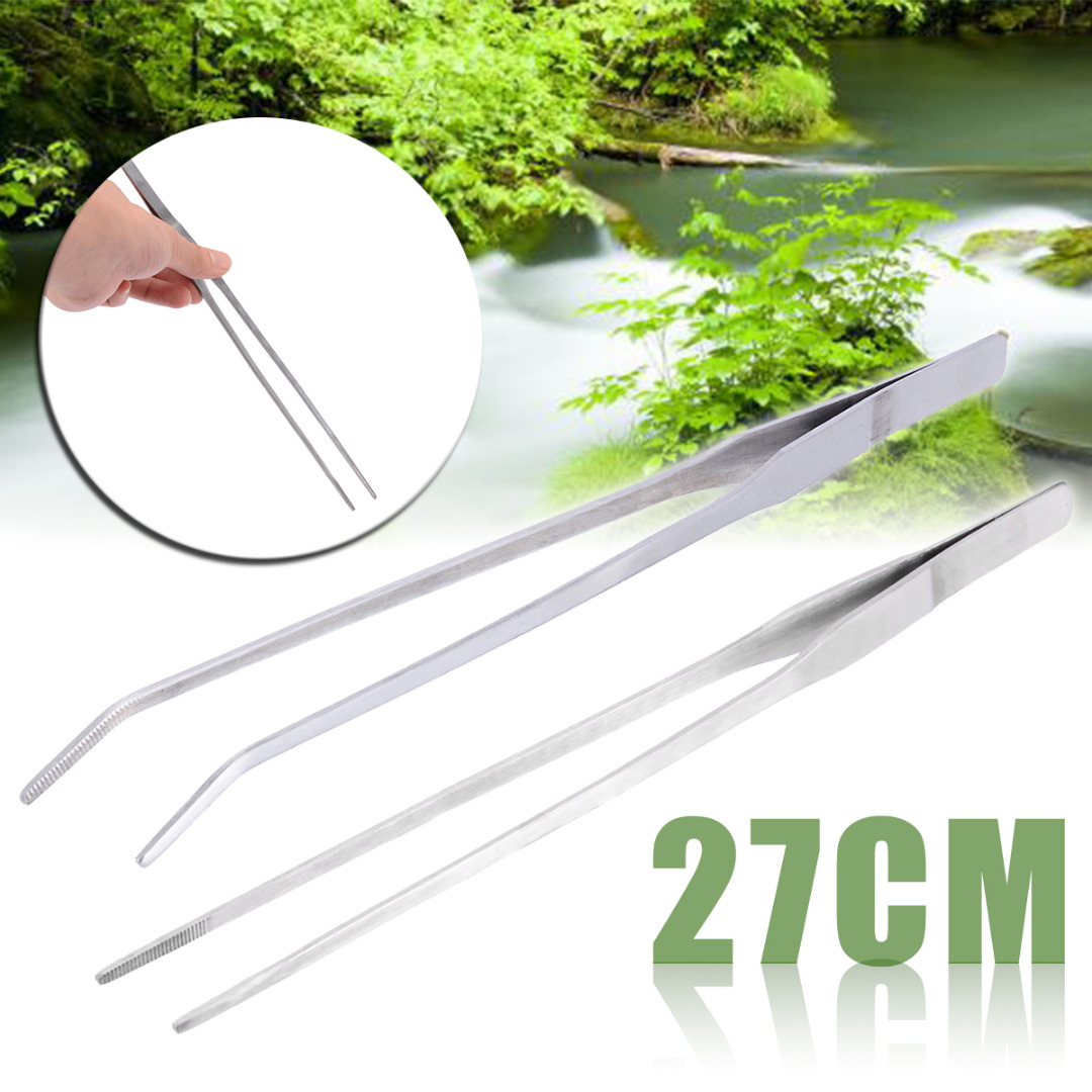 27cm Aquarium Live Tank Straight Curve Plant Tweezers Long Tongs Stainless Steel Plant Fish Tank Tweezer Cleaning Clamp Tool