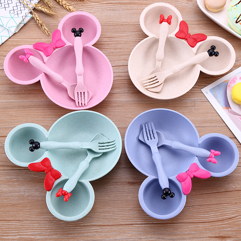 3pcs/set Wheat Straw Children Dish Baby Feeding Bowl Kids Dinnerware Set Thicken Cute Baby Bowl BPA Free