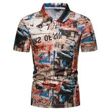 Free Shipping 2019 New Summer Men Graffiti Print Short Sleeve Mens Polo Shirt men colorful graffiti polo shirt