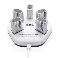 EBL Fast USB Li ion 9V Battery Charger with 5 Packs 600mAh 9V 6F22 Li ion Rechargeable Batteries