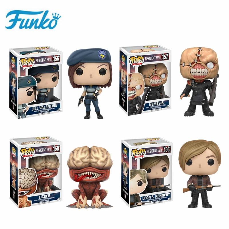 Funko Pop Resident Evil #157 Nemesis #156 Leons #155 Jill #158 Licker Action Figure Toys Birthday Bobble Head Q Edition Gift