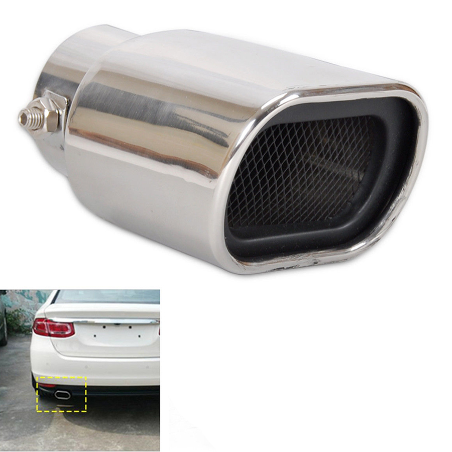 Glossy Silver Stainless Steel Universal Car Straight Exhaust Pipe Rear Muffler Tip Tail Throat KSTE Car Exhaust Tip
