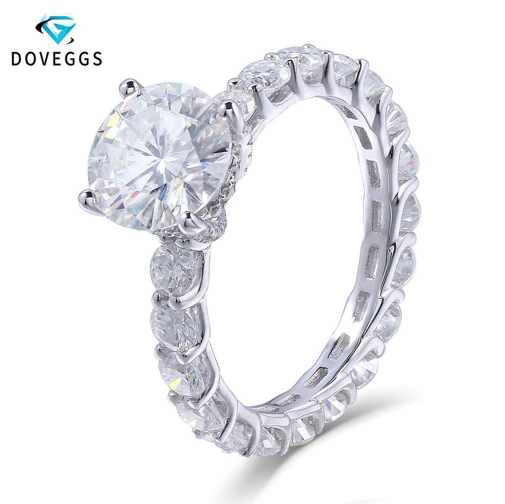 DovEggs 14K 585 White Gold 2 Carat ct 8mm F Color Moissanite Diamond Engagement Engagement Ring