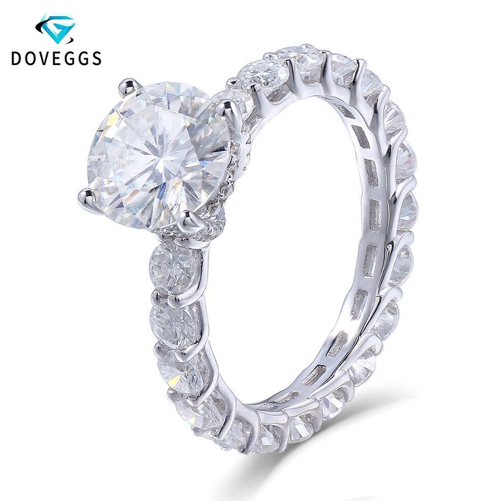 DovEggs 14 K 585 or blanc 2 carats ct 8mm F couleur Moissanite diamant bague de fiançailles pour les femmes avec bande d'éternité-in Anneaux from Bijoux et Accessoires    1