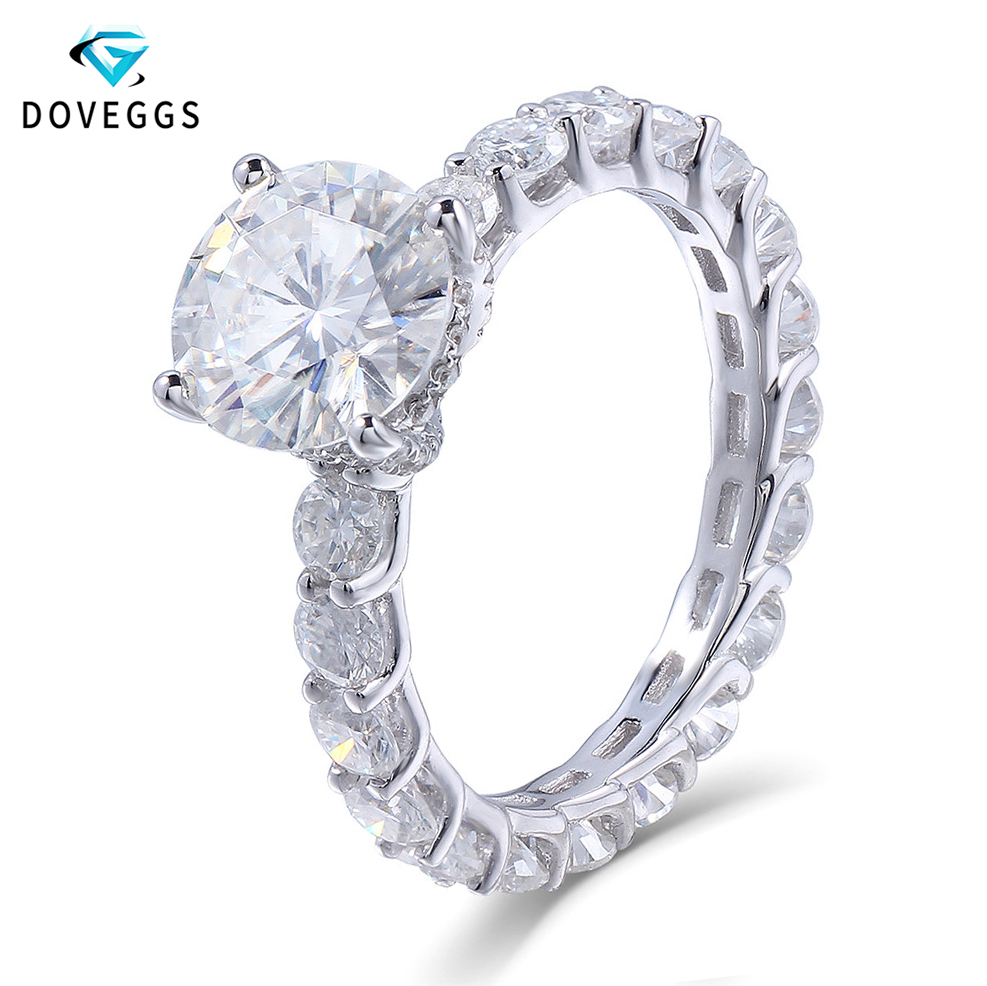 DovEggs 14K 585 White Gold 2 Carat ct 8mm F Color Moissanite Diamond Engagement Engagement Ring for Women with Eternity Band
