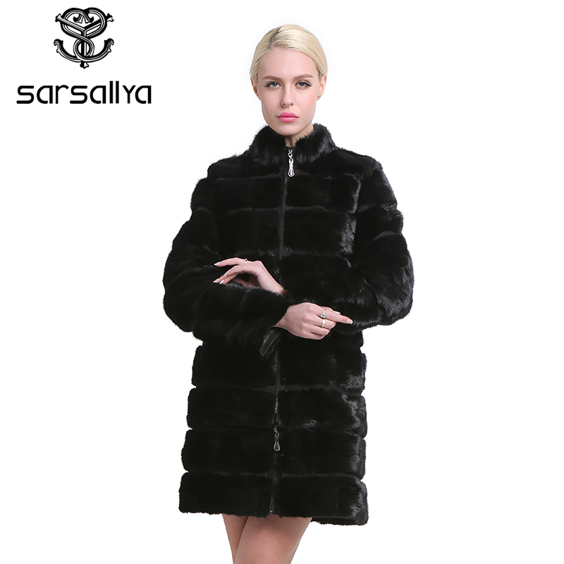 SARSALLYA Real Mink Fur Coat para Mulheres Naturais Genuíno 38-58 plus size Casacos De Peles De Luxo Cor Preta Personalizado tamanho