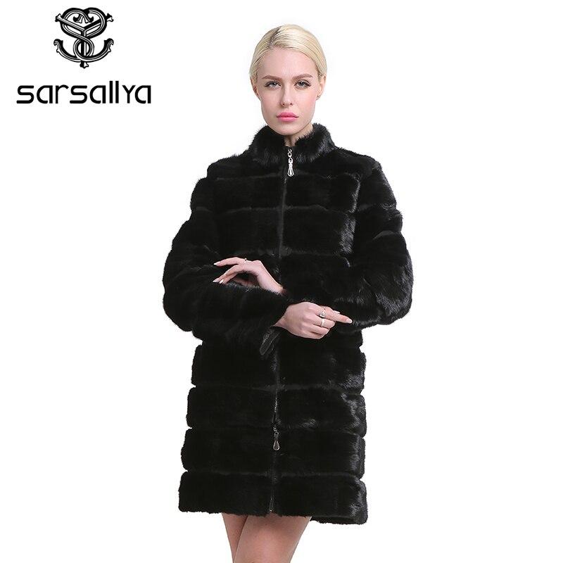SARSALLYA Real Piel de visón abrigo para las mujeres Natural genuino 38-58 plus tamaño abrigos de piel de lujo Color negro personalizado tamaño