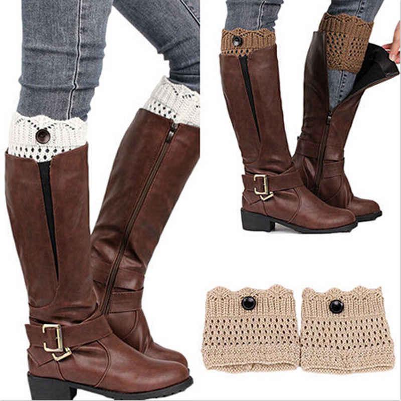 Fashion Designer Vrouwen Knoppen Beenwarmers Herfst Winter Korte Hollow Boot Manchet Calentadores Piernas Breien Boot Sokken Slobkousen