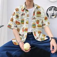 Campus Style Tide Hamburger Printing Turn Down Collar Short Sleeve Flower Men Shirt 2019 Summer Thin Cotton Loose Male Shirts