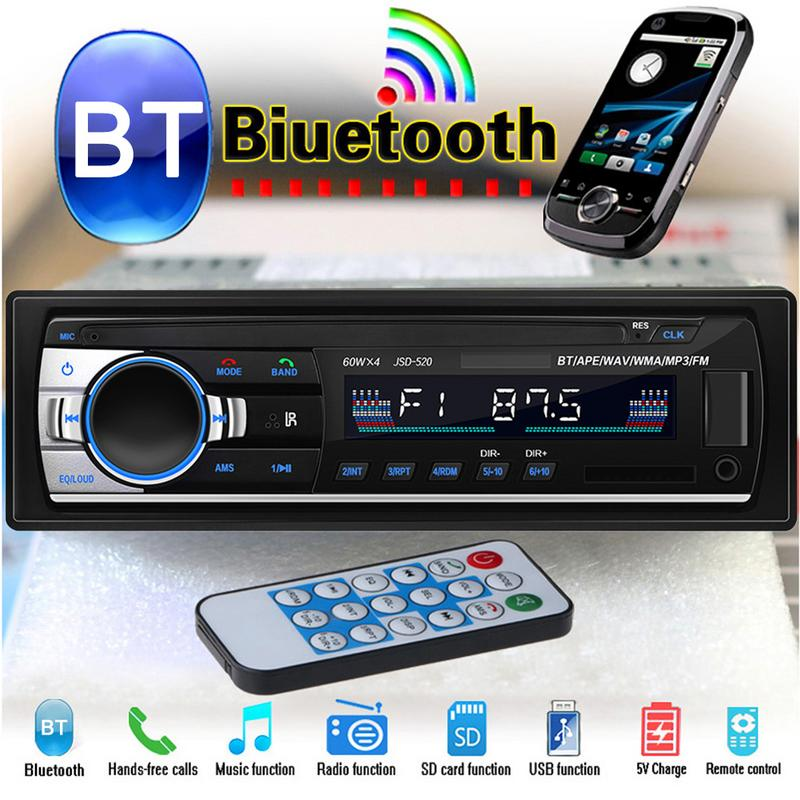 Bluetooth Stereo Audio In Dash FM MP3 Radio Player With AUX IN SD USB DC 12V MP3 MMC WMA FOR Car Radio Player in Car Multimedia Player from Automobiles Motorcycles