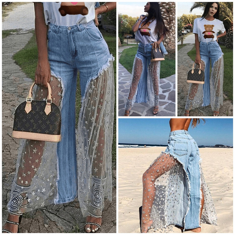 27ff8610d0 Women Casual Ripped Mesh Denim Jeans Destroyed Split Joint Lace Tulle High  Waist Pants Beach Jeans