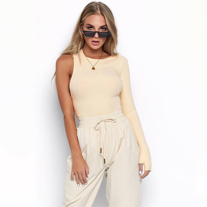 Sexy Womens One Cold Shoulder Long Sleeve Slim Solid Bodysuit Ladies Top Crepe Stretch Leotard Club Party Jumpsuit For women