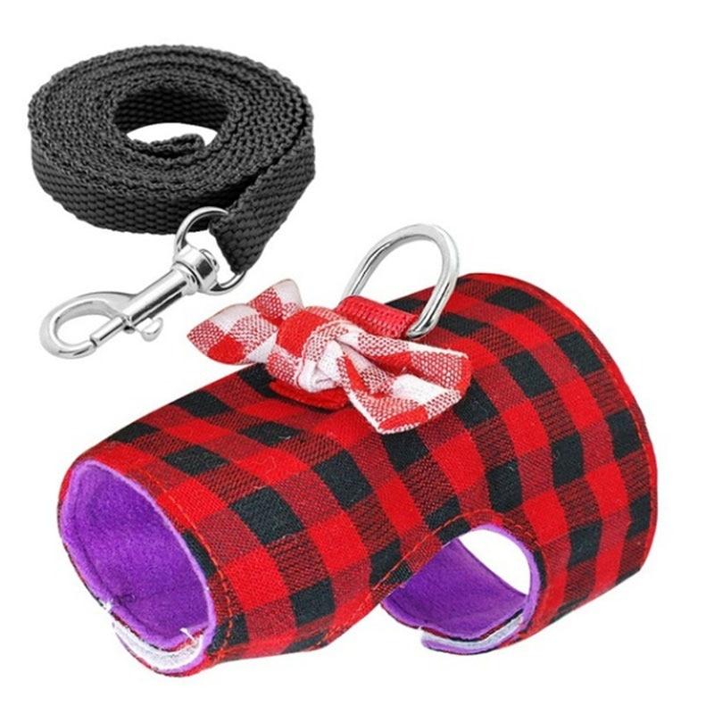 2pcs/set Adjustable Small Pet Bow Plaid Striped Harness Vest Set Ferret Guinea Pig Hamster Chest Soft Strap Drop Shipping