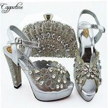 Capputine/Лидер продаж; Новинка; летний комплект из обуви и сумки со стразами; итальянские Модные женские Вечерние туфли на высоком каблуке и сумочка; 8 цветов